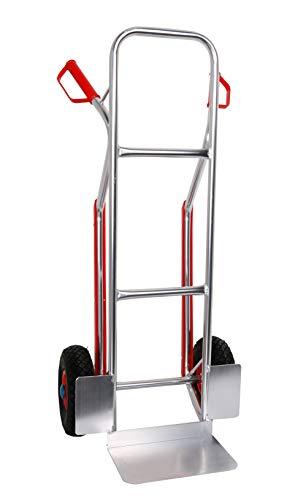 Sackkarre Aluminium Gleitkufen 200 kg 117x46x54 Vollgummibereifung (Transportkarre Stapelkarre Handkarre, Umzugskarre, leichte Sackkarre aus Aluminium für Umzug)