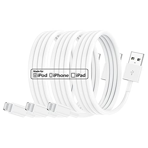 Apple - Juego de 3 cables de carga para iPhone (0,3 m, conector Lightning a cable USB de 0,3 m, 2,4 A, carga rápida para Apple iPhone 11/11Pro/11Max/X/XS/XR/XS Max/8/7/6/5S/SE)