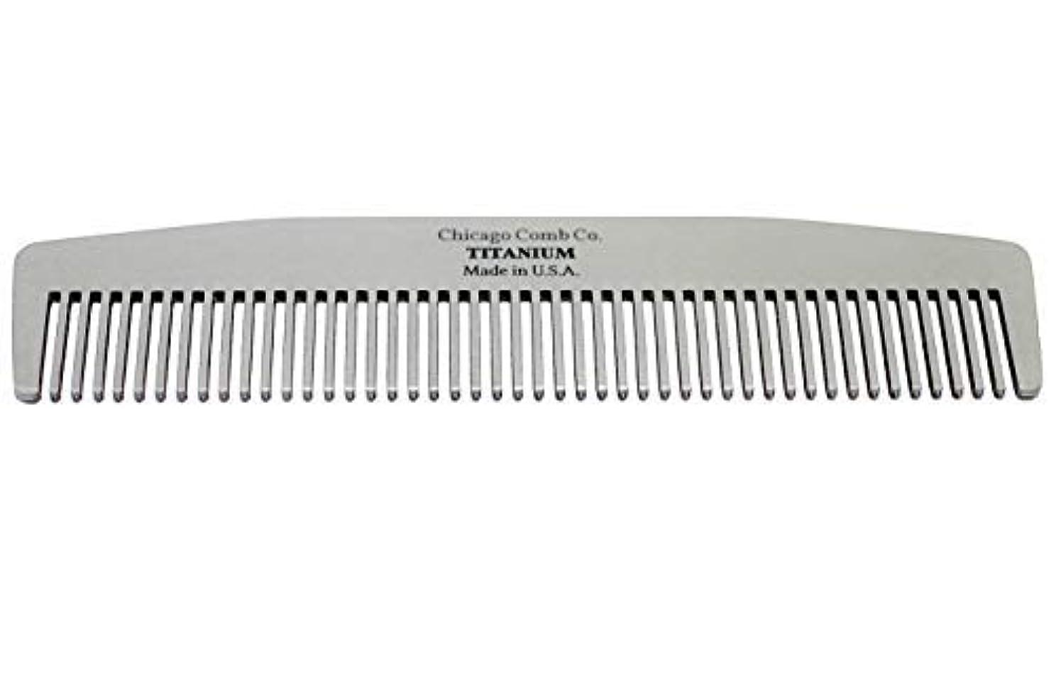 葉を集める迅速ジュニアChicago Comb Model No. 3 Titanium, Made in USA, Ultra-Smooth, Strong, Light, Anti-Static, 5.5 in. (14 cm) Long, Medium-Fine Tines, Ultimate Daily Use, Pocket, Travel Comb, Pure American Titanium [並行輸入品]