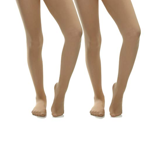 Silky Toes Girls' Microfiber School Winter Opaque Footed Tights (2 Pairs) (Nude (2 Pairs), 8-10)