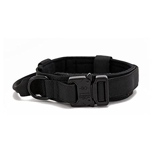 LEEYAN Collar táctico para mascotas con hebilla pesada, ajustable al aire libre, para collar de perro de tracción media y grande