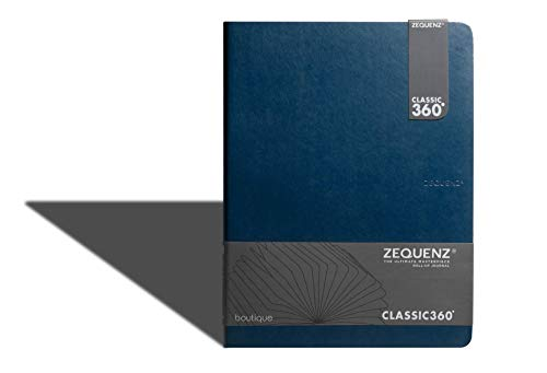 Zequenz Classic 360 Boutique Lite Notizbuch, weich gebunden, weicher Einband, extra groß, 19,1 x 25,4 cm, cremefarbenes Papier, 90 Blatt/180 Seiten, liniert, liniert, Premium-Papier (blau)