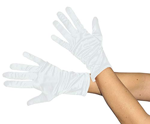 Foxxeo Kurze glänzende weiße Handschuhe 20er Jahre Damen Fasching Kostüm