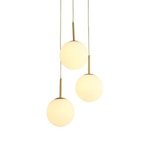 HTZ-M Lámpara de Pared, Aplique de Pared, lámpara de Techo Moderna de 3 Cabezas, lámpara Colgante de Techo de latón, lámpara Colgante con Pantalla de Cristal Color Crema para Cocina, Isla, dormitori