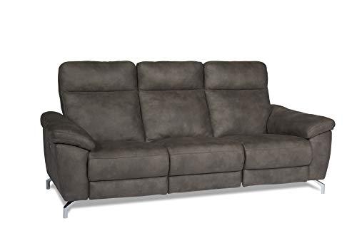 Ibbe Design - Sofá de Relax de 3 plazas, Tejido marrón, eléctrico, Ajustable, función Relax, Cine en casa, sofá Doha, con reposapiés, núcleo de muelles, 222 x 96 x 101 cm