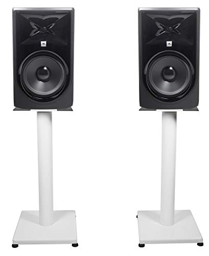 New (2) JBL 308P MkII 8 Powered Studio Monitor Monitoring Speakers+White 21 Stands