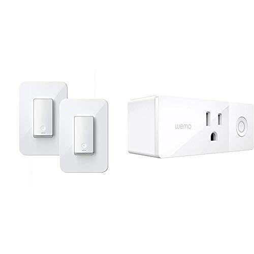 Wemo Wi-Fi Light Switch 3-Way 2-Pack Bundle (WLS0403-BDL) & Mini Smart Plug, WiFi Enabled, Works with Alexa, Google Assistant &...
