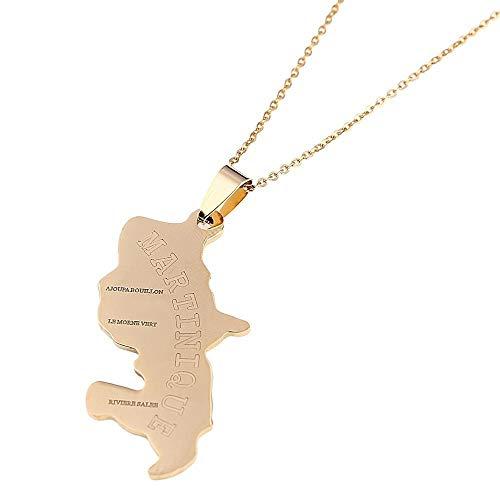 Trendige Karte von Martinique Anhänger Halsketten für Frauen Frankreich Martinique und das aktuelle Wetter oder lesen Sie die letzten Schmuckgeschenke-Goldfarbe