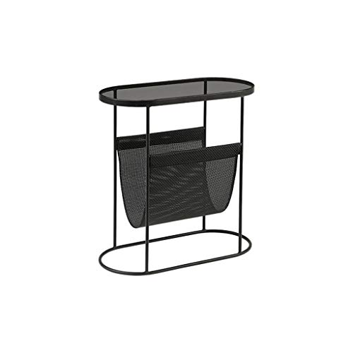 SZQ-Bijzettafels Indoor Koffietafel, Black Glass Coffee Table Hotel Cafe Sales Department Boek Kamer Side Table Bookshelf 53,5 * 25 * 55CM Salontafels (Color : Black, Size : 53.5 * 25 * 55CM)