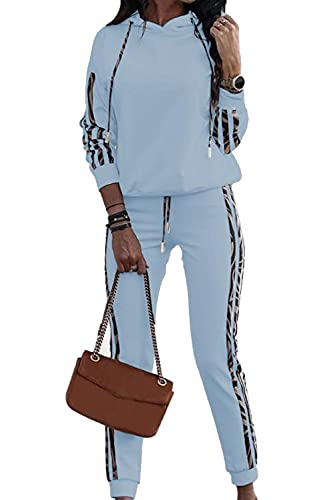 Womens Leopard Print Design Jogging Suit Stretch Casual Fitness Set Stripes Tracksuit, Color:Azul Claro, Talla:48
