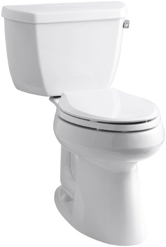 "Kohler K-3713-RA-0 Highline Classic Comfort Height Two-Piece Elongated Toilet with 10"" Rough-In, Right-Hand Trip Lever, White"