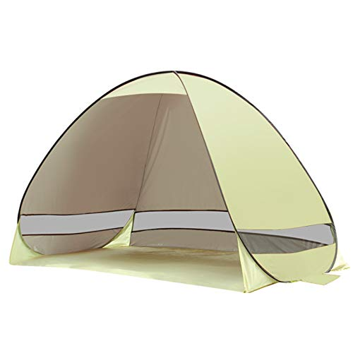 Carpa Playa Emergente Automática,Cúpula Portátil UPF 50+ Refugio Anti UV Cabaña Abierta Instantánea Al Aire Libre para Camping/Familia/BBQ/Jardín/Parque/Pesca/Picnic para 2-4 Personas,Beige