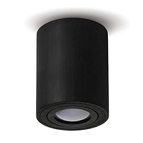 JVS opbouwlamp opbouw plafondlamp opbouw led MILANO -LANG- GU10 fitting 230V rond, aluminium-zwart, zwenkbare plafondlamp spot plafondlamp opbouwlamp kroonluchter van aluminium