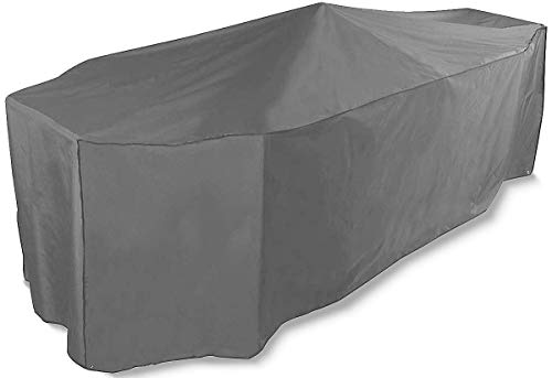 Bosmere Protector 6000 | 8 Seat Rectangular Garden Table + Chairs Cover – Grey – 100% Waterproof, UV Protected, Outdoor Protection – 6 Year Guarantee, U535 (L 295cm W 203cm H 90cm)