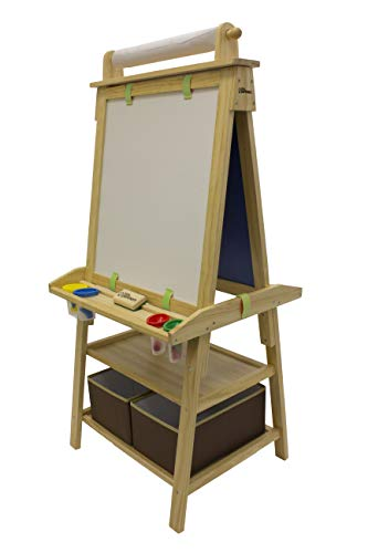 Little Partners 2-Sided A-Frame Art Easel with Chalk Board, Dry Erase, Storage, Paper Feed and Accessories for Toddlers (Natural)
