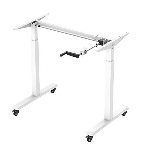 SGSP E002B Höhenverstellbarer Schreibtisch mit Rollen, Kurbelverstellbares Tischgestell für alle Tischplatten (Schwarz) (Weiß, Basic)