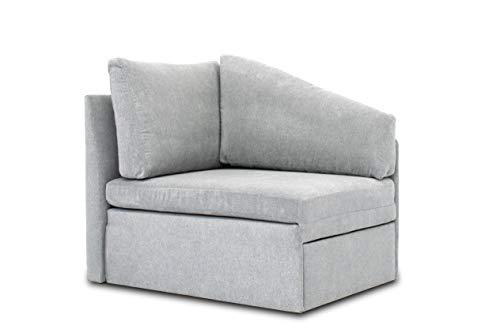DOMO. collection Delta Sofa, Schlafsofa, Schlafsessel, Gästebett, tiny couch, Ecksessel, hellgrau, 116x81x83 cm