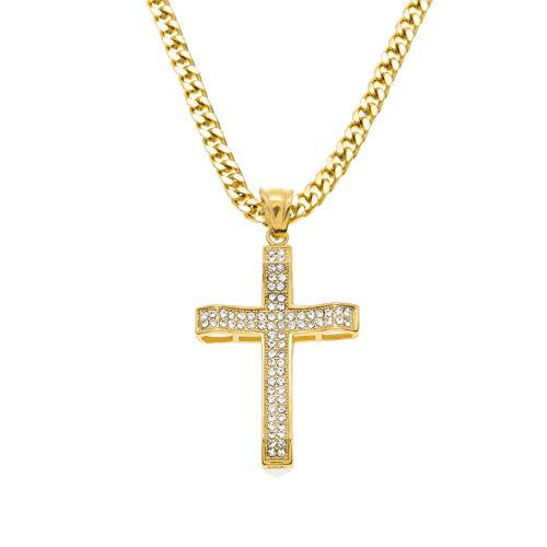 Collar con colgante de cruz de Jesús de Hip Hop, collar con colgante de calle hipster punk para hombres y mujeres, joyería de regalo (oro), collar