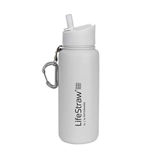 LifeStraw Go Stainless Steel Water Filter Bottle with 2-Stage Integrated Filter Straw, Double Wall Vacuum Insulated, for Hiking, Backpacking, and Travel, 24oz, White