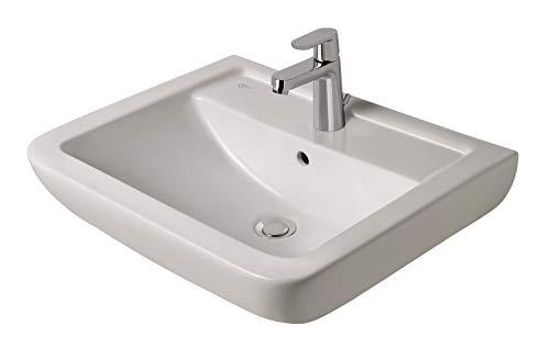 Ideal Standard Waschtisch-Kombi-Paket Eurovit Plus K296201 | eckiges Waschbecken 60 cm | CeraVito Waschtischarmatur Grande | mit Eckventilen, Siphon und Befestigung | weiß (Alpin) | 57036 7