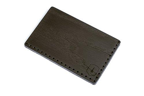 BeWooden Tarjetero de piel y madera Tenebra Note – tarjetero de cuero para hombre – tarjetero para 25 tarjetas de visita y para 7 tarjetas de credito – tarjetero rigido y duro – tarjetero negro