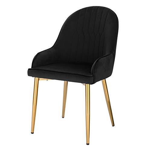 Lestarain Esszimmerstuhl,Samtstuhl Küchenstuhl Wohnzimmerstuhl Gestell aus Metall für Küche Wohnzimmer Esszimmer, mit Goldenen Beine Schwarz