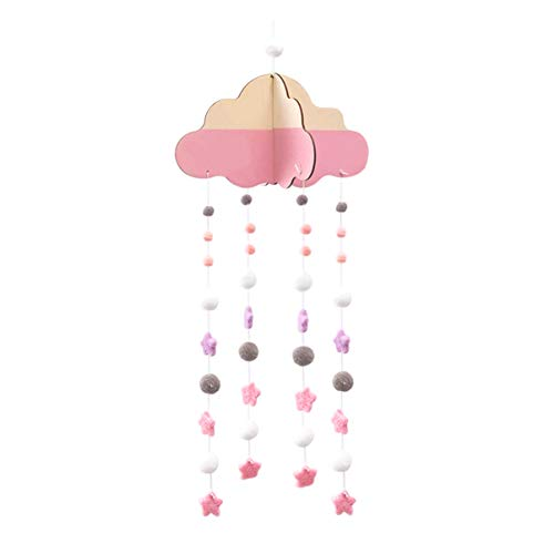 GARNECK Cuna Móvil Móvil Fieltro Nube Pompones Pedantes Guirnalda de Estrellas para Baby Shower Vivero Decoración (Rosa)