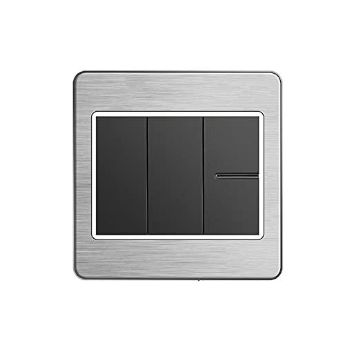 Yoaodpei 86 Tipo Interruptor de luz de pared de pared Panel de interruptor de dibujo de alambre gris Panel de interruptor basculante oculto para el hogar Panel de control simple y doble Interruptor de
