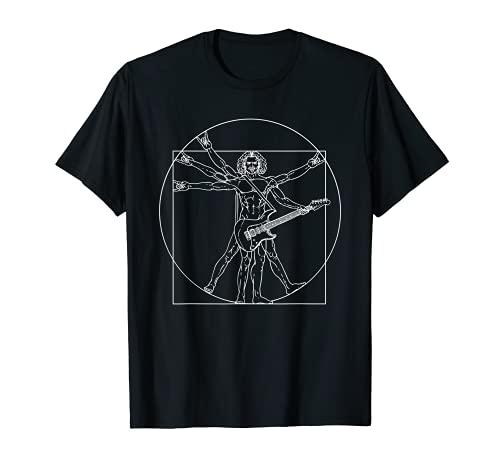 Vitruvian Man Guitar Music Player Da Vinci Guitarist Rocker Camiseta
