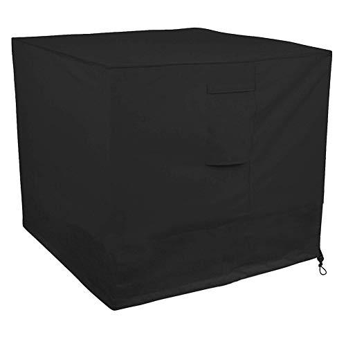 WWWANG Negro al Aire Libre Patio Plaza del acondicionador de Aire de la Cubierta, a Prueba de Agua/Viento Muebles de jardín Cubierta contra los Rayos UV, 34 × 34 × 30 Pulgadas (Size : DABMMYTZ)