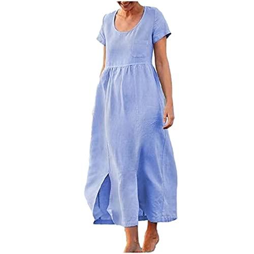 Vestidos de verano para mujer, vestido de verano para mujer, manga corta, liso, holgado, casual, con abertura trasera, vestido de túnica casual, para la fecha, cena, fiesta, Reino Unido