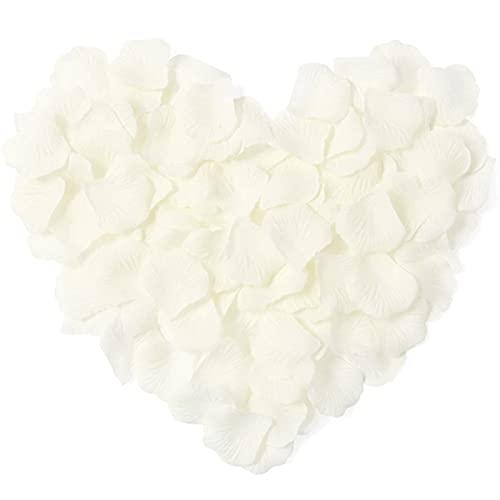 Lot de 1000 pétales de rose artificielles pour mariage, décoration de nuit romantique, blanc crème