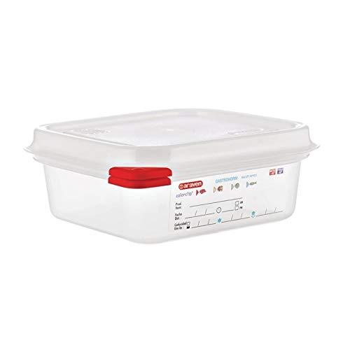 Araven 03350 Lot de 4 boîtes alimentaires en polypropylène GN avec couvercle 1,1 l 65 mm