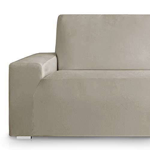Vipalia Funda de Sofa Bielastica Adaptable Terciopelo. Protector Cubre Sofa Velvet. Suave Confortable Lavable Resistente Transpirable. Beige 4 Plazas (225-270cm)