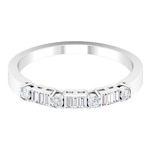 Único anillo de boda nupcial, anillo de corte baguette, HI-SI 0,23 quilates anillo de diamante, anillo de media eternidad, anillo de aniversario, anillo de dama de honor, 14K Oro blanco, Size:EU 61