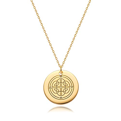 Fettero Coin Necklace Gold Pendant Disc Chinese Knot Patterned Engraved 14K Gold Plated Dainty Chain Simple Personalized Celestial Jewelry Birthday Gift for Women