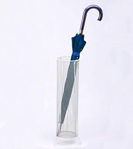 XIUYU Support en métal Mesh Umbrella for la Maison Bâton de Marche parapluies Porte-Rack Bureau Simple Baril de Pluie Stockage, Argent (Color : White)