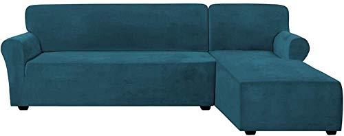 YZ-YUAN Fundas de sofá elásticas de Terciopelo en Forma de L de 2 Piezas Fundas Antideslizantes para sofá seccionales con Correas Funda de sofá de Esquina de Terciopelo Grueso en la Parte Inferior (