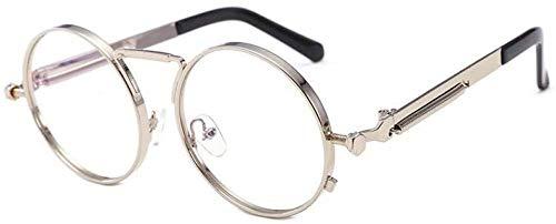 ZYIZEE Gafas de Sol Steampunk Gafas de Sol Redondas de Metal para Hombres y Mujeres Gafas de Sol Circulares con Espejo Retro Vintage Cool-C8_Silver_Clear