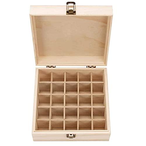 Boîte de Rangement,pour Huile Essentielle dhuile Organisateur avec Motif de Pin en Bois 25 Compartiments Détachable Titulaire de Caisse dhuile pour Stockage à Domicile