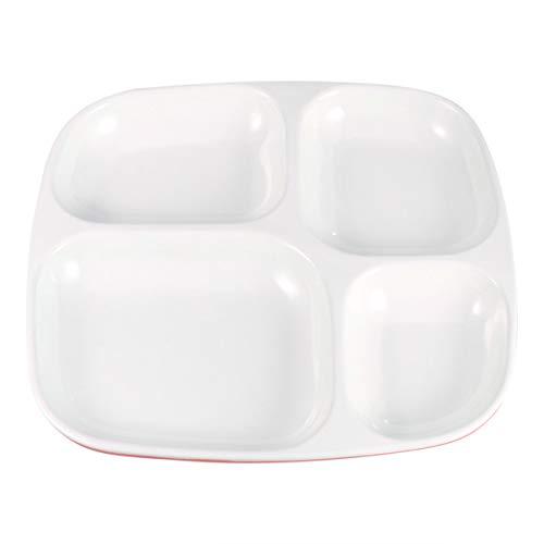 Hemoton Platos Divididos Porcelana 4 Compartimentos Bandeja de Cena Dividida de Melamina...