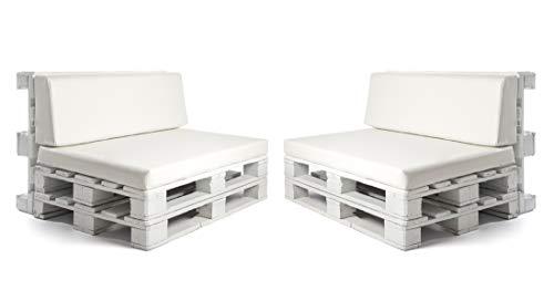 SUENOSZZZ-ESPECIALISTAS DEL DESCANSO Pack 2 Asientos y respaldos para Sofas de palets, Cojines Chill out Rellenos con Espuma y enfundados en Polipiel Color Blanco