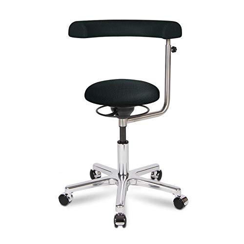 BALIMO OFFICE, Bürohocker, Sitzhocker, ergonomischer Rücken-Trainer, Bezug schwarz, mit Softpolster