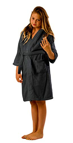 BY LORA Terry Microfiber Boys and Girls Bathrobe, Water Absorbent Robe, Charcoal, Size Large