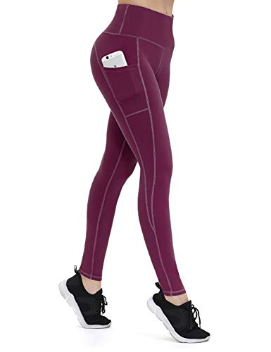 ALONG FIT Leggings Damen mit Taschen, Nicht durchsichtig Sporthose Damen Dehnbar Yogahosen für Damen, Burgunderrot, L