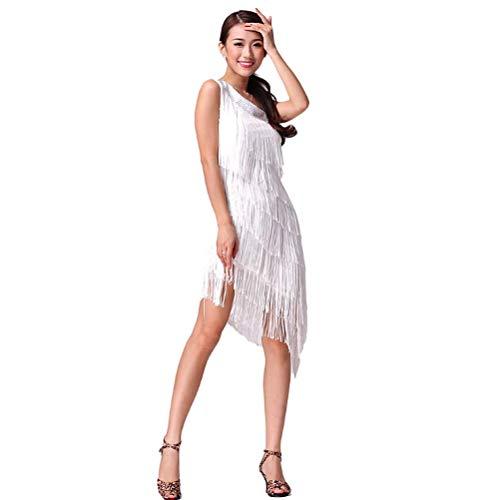 Vestido con Flecos Competencia Lrico de Baile Latino para Damas Collar Asimtrico Borla Disfraz De Tango Profesional Rumba Tango Sin Mangas,White,OneSize