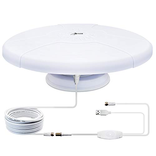 Long Range Outdoor Amplified Digital HD TV Antenna, Amplifier Signal Booster+ Magnetic Base TV Antenna - for Camper, RV Trailer Truck Caravan Boat (White)