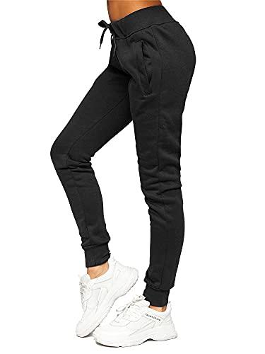 BOLF Damen Jogginghose Sporthose Freizeithose Trainingshose Sweathose Yogahose Sweatpants Baumwolle Hose Fitness Workout Basic Elastic J.Style CK-01 Schwarz M [F6F]