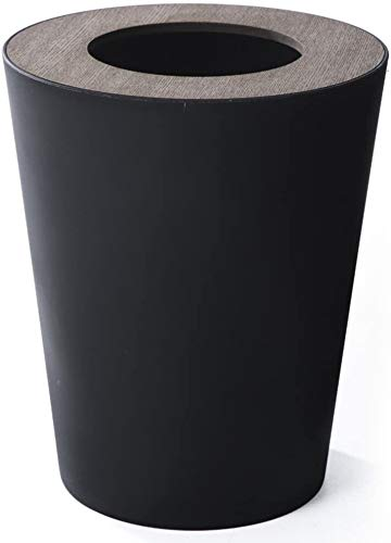 Verdikte vuilnisbak Afvalbakken, Ronde vuilnisbak Afvalbak met deksel Houten deksel Kunststof afvalbakken Stevig Verwijderbare vuilnisbak kantoor Toepasselijk op Keuken Slaapkamer Badkamer Eenvoudige moderne