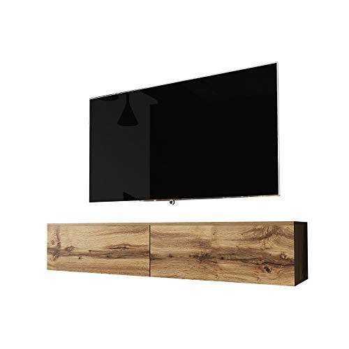 Selsey Kane – TV-Lowboard Fernsehschrank hängend 140 cm (Wotan Eiche, ohne LED)